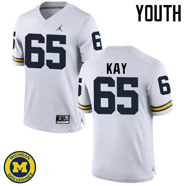 Youth Michigan Wolverines #65 Anthony Kay College Football Jerseys Sale-White