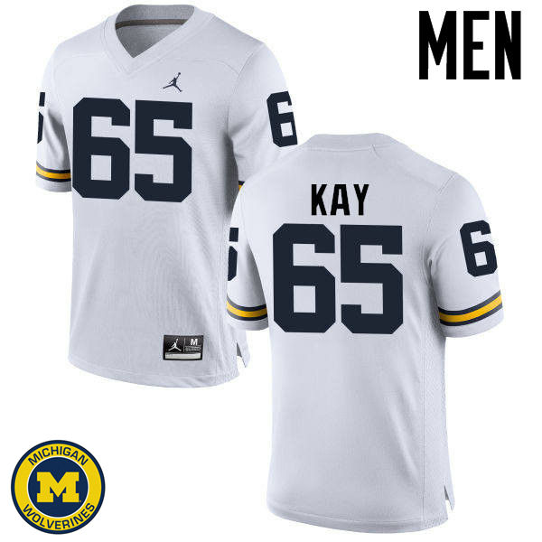 Men Michigan Wolverines #65 Anthony Kay College Football Jerseys Sale-White