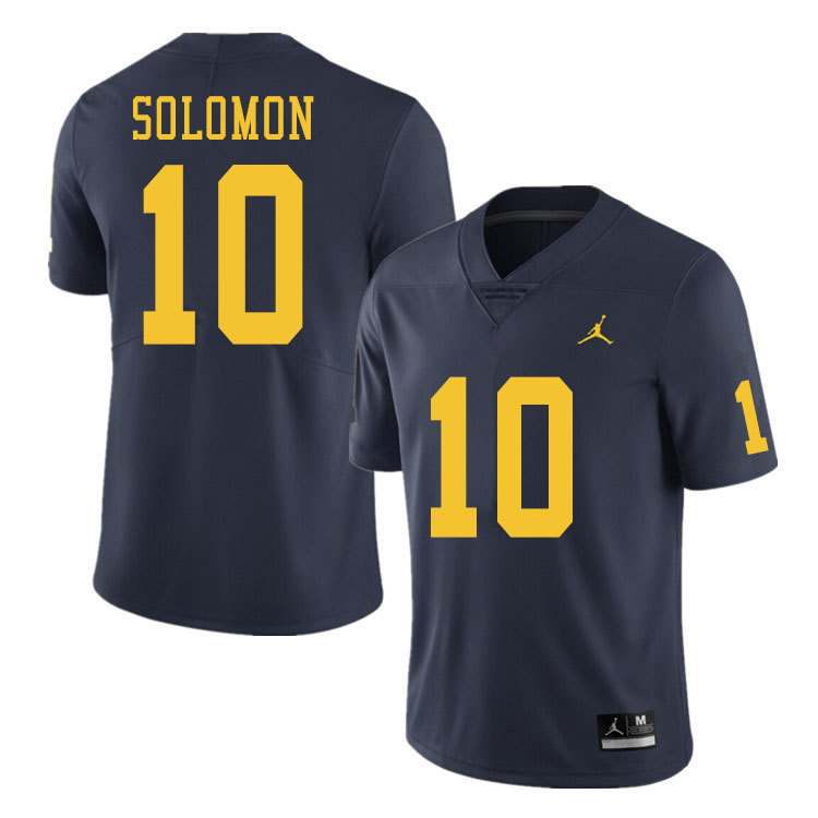 Men #10 Anthony Solomon Michigan Wolverines College Football Jerseys Sale-Navy