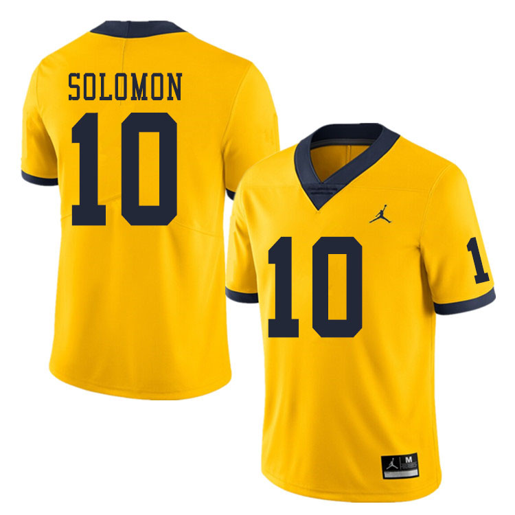 Men #10 Anthony Solomon Michigan Wolverines College Football Jerseys Sale-Yellow