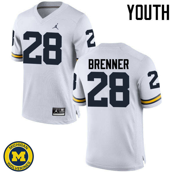 Youth Michigan Wolverines #28 Austin Brenner College Football Jerseys Sale-White
