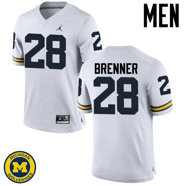 Men Michigan Wolverines #28 Austin Brenner College Football Jerseys Sale-White
