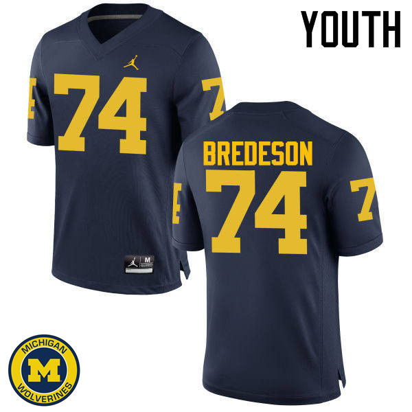 Youth Michigan Wolverines #74 Ben Bredeson College Football Jerseys Sale-Navy