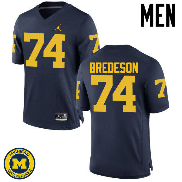 Men Michigan Wolverines #74 Ben Bredeson College Football Jerseys Sale-Navy