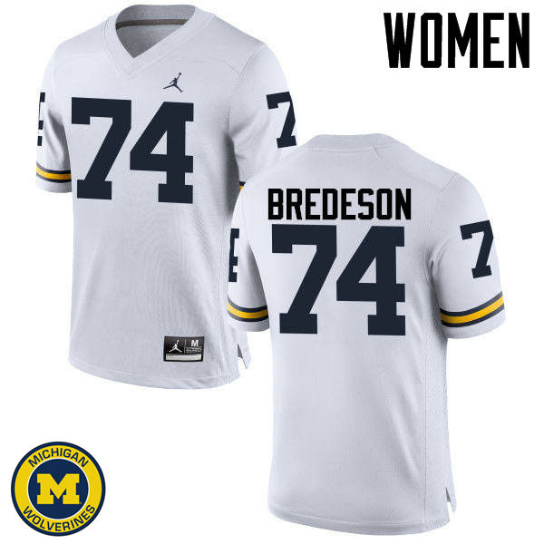 Women Michigan Wolverines #74 Ben Bredeson College Football Jerseys Sale-White