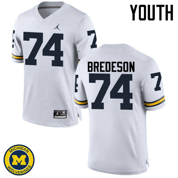 Youth Michigan Wolverines #74 Ben Bredeson College Football Jerseys Sale-White