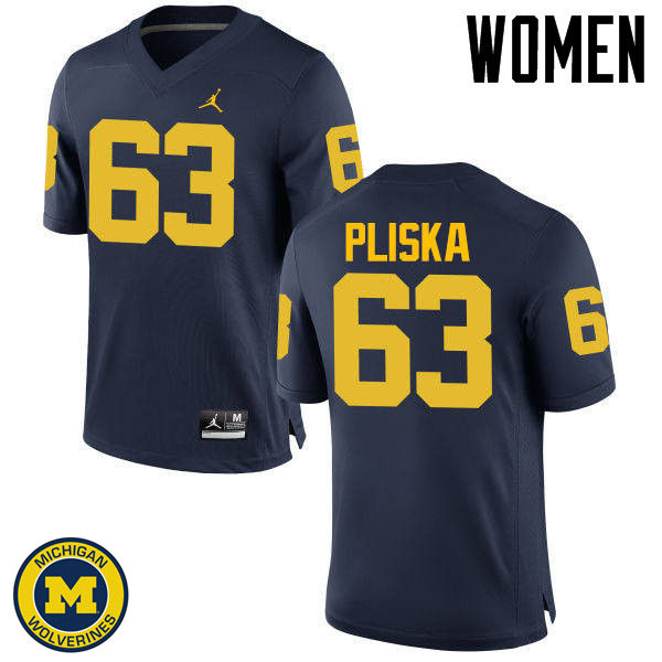 Women Michigan Wolverines #63 Ben Pliska College Football Jerseys Sale-Navy
