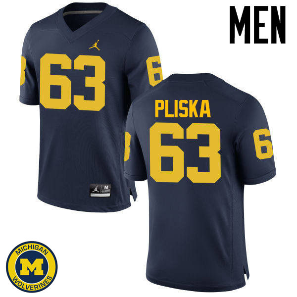 Men Michigan Wolverines #63 Ben Pliska College Football Jerseys Sale-Navy