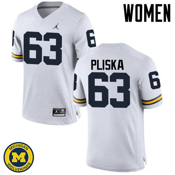 Women Michigan Wolverines #63 Ben Pliska College Football Jerseys Sale-White