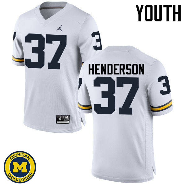 Youth Michigan Wolverines #37 Bobby Henderson College Football Jerseys Sale-White
