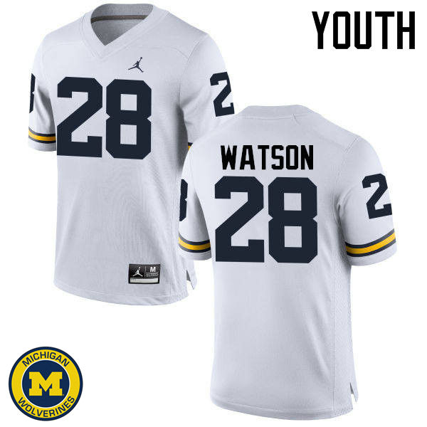 Youth Michigan Wolverines #28 Brandon Watson College Football Jerseys Sale-White