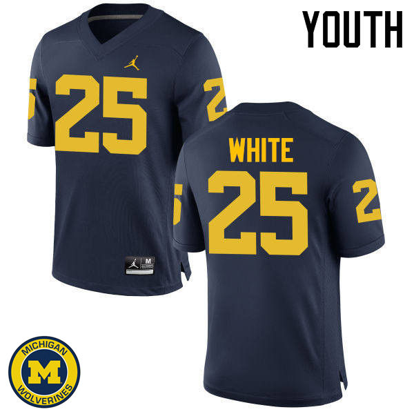 Youth Michigan Wolverines #25 Brendan White College Football Jerseys Sale-Navy