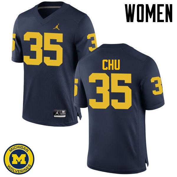 Women Michigan Wolverines #35 Brian Chu College Football Jerseys Sale-Navy