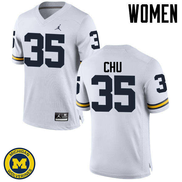 Women Michigan Wolverines #35 Brian Chu College Football Jerseys Sale-White
