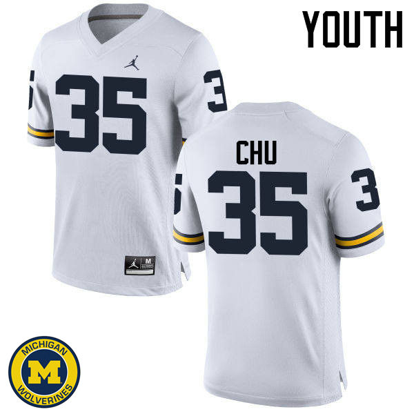 Youth Michigan Wolverines #35 Brian Chu College Football Jerseys Sale-White