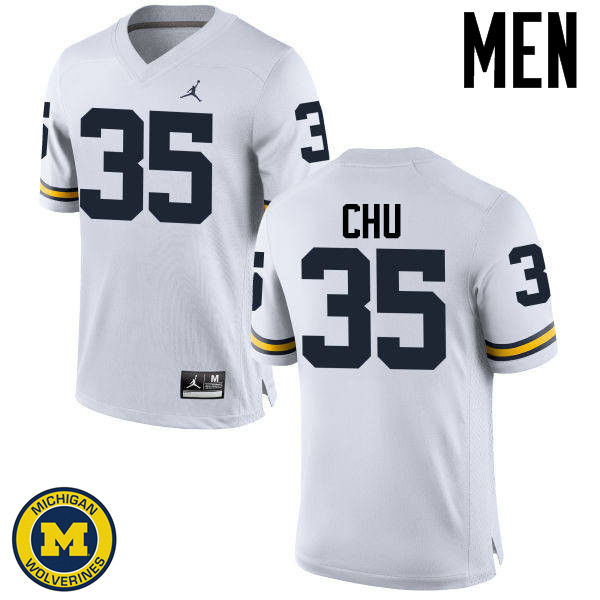 Men Michigan Wolverines #35 Brian Chu College Football Jerseys Sale-White
