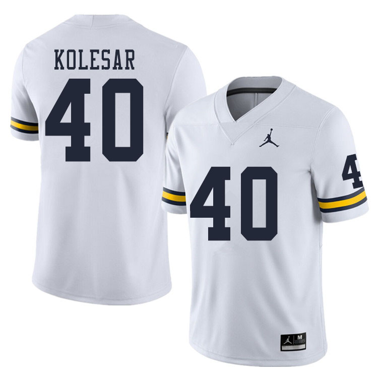 Men #40 Caden Kolesar Michigan Wolverines College Football Jerseys Sale-White