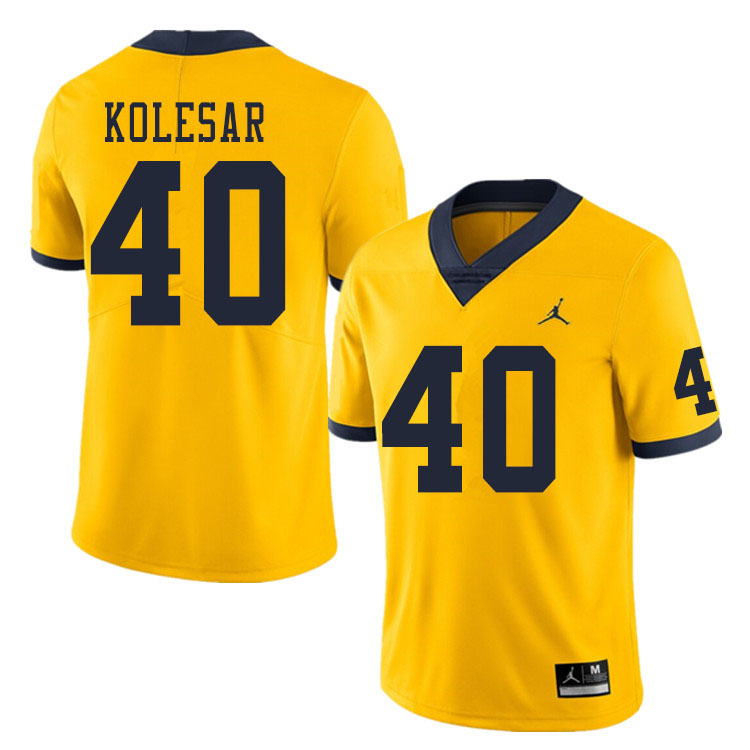 Men #40 Caden Kolesar Michigan Wolverines College Football Jerseys Sale-Yellow