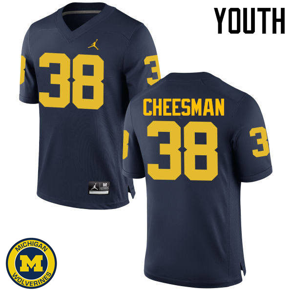 Youth Michigan Wolverines #38 Cameron Cheesman College Football Jerseys Sale-Navy