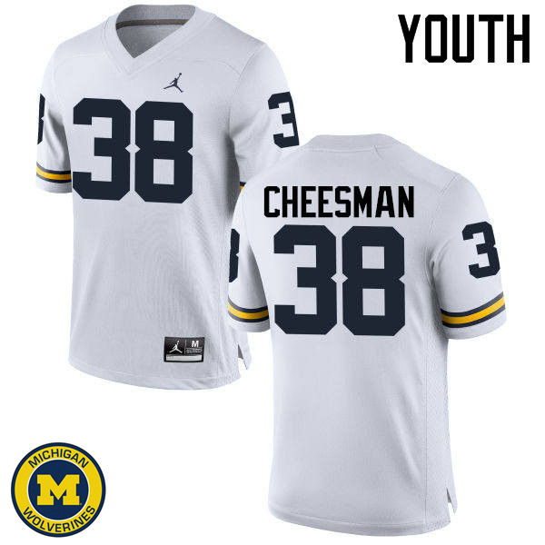 Youth Michigan Wolverines #38 Cameron Cheesman College Football Jerseys Sale-White