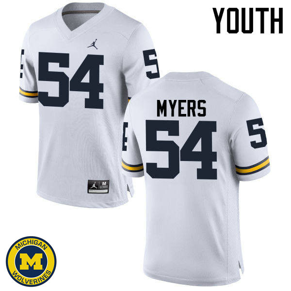 Youth Michigan Wolverines #54 Carl Myers College Football Jerseys Sale-White