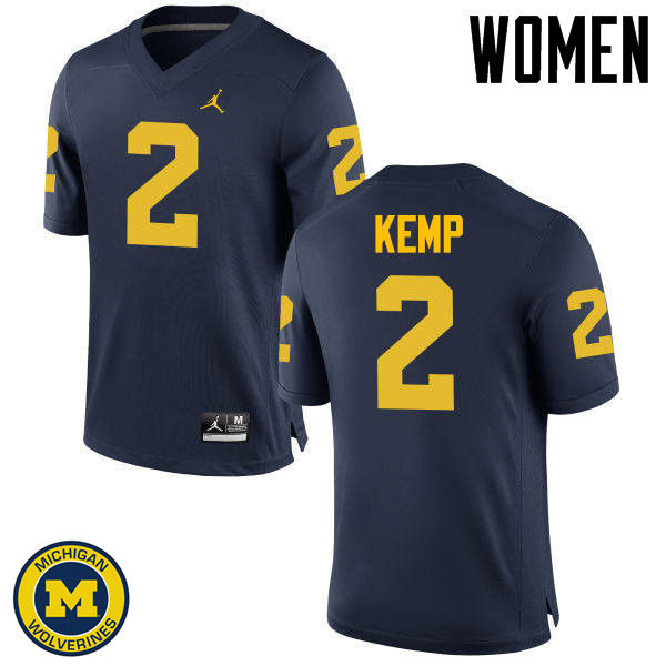 Women Michigan Wolverines #2 Carlo Kemp College Football Jerseys Sale-Navy