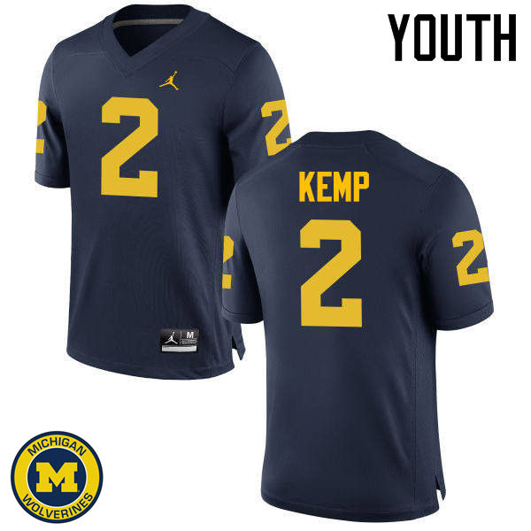 Youth Michigan Wolverines #2 Carlo Kemp College Football Jerseys Sale-Navy