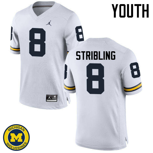 Youth Michigan Wolverines #8 Channing Stribling College Football Jerseys Sale-White