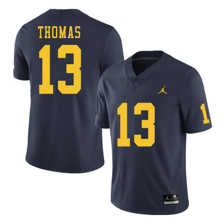 Men #13 Charles Thomas Michigan Wolverines College Football Jerseys Sale-Navy