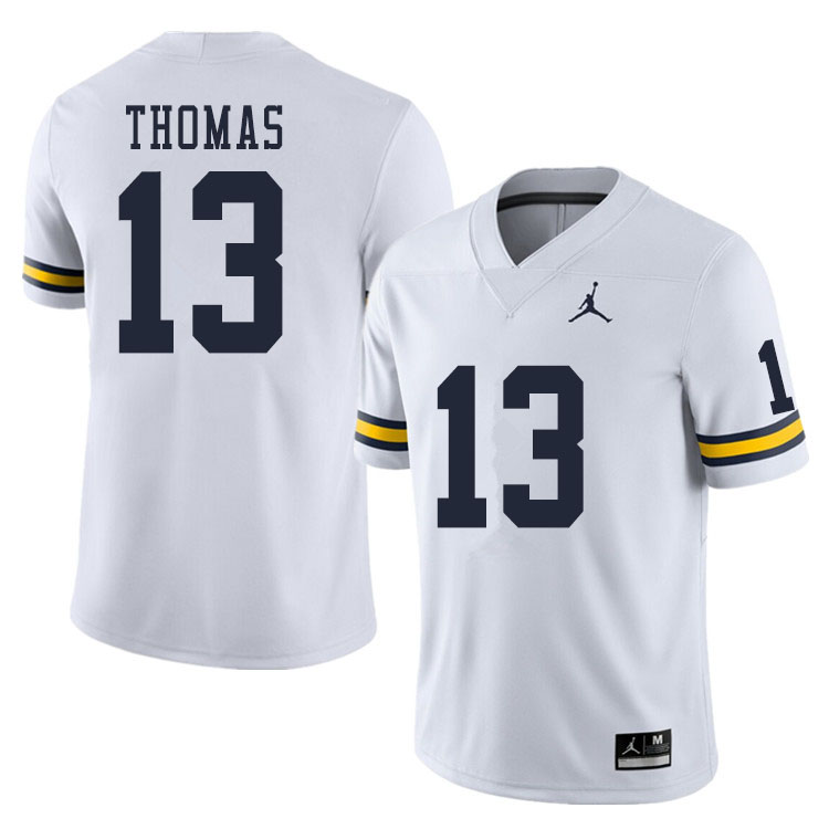 Men #13 Charles Thomas Michigan Wolverines College Football Jerseys Sale-White