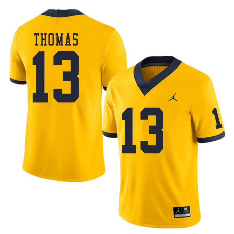 Men #13 Charles Thomas Michigan Wolverines College Football Jerseys Sale-Yellow