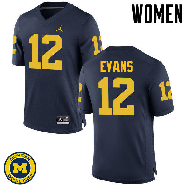 Women Michigan Wolverines #12 Chris Evans College Football Jerseys Sale-Navy