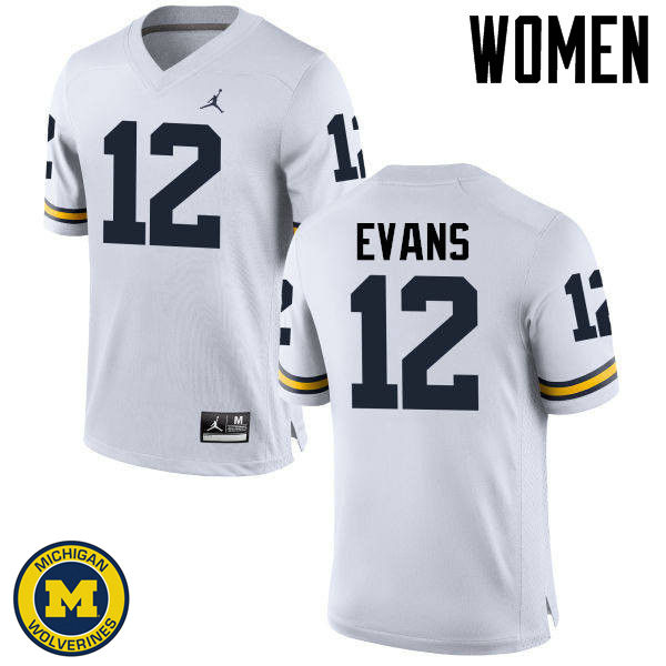 Women Michigan Wolverines #12 Chris Evans College Football Jerseys Sale-White