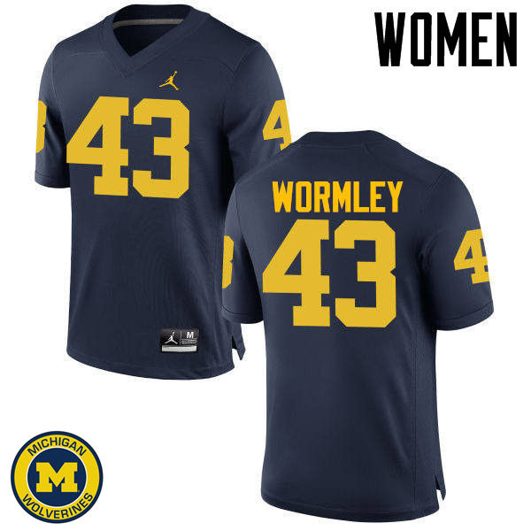 Women Michigan Wolverines #43 Chris Wormley College Football Jerseys Sale-Navy
