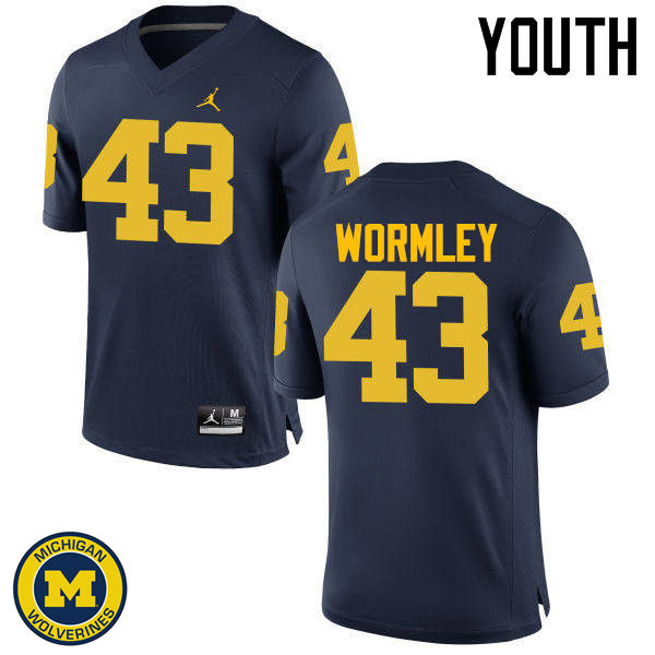 Youth Michigan Wolverines #43 Chris Wormley College Football Jerseys Sale-Navy