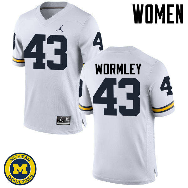 Women Michigan Wolverines #43 Chris Wormley College Football Jerseys Sale-White