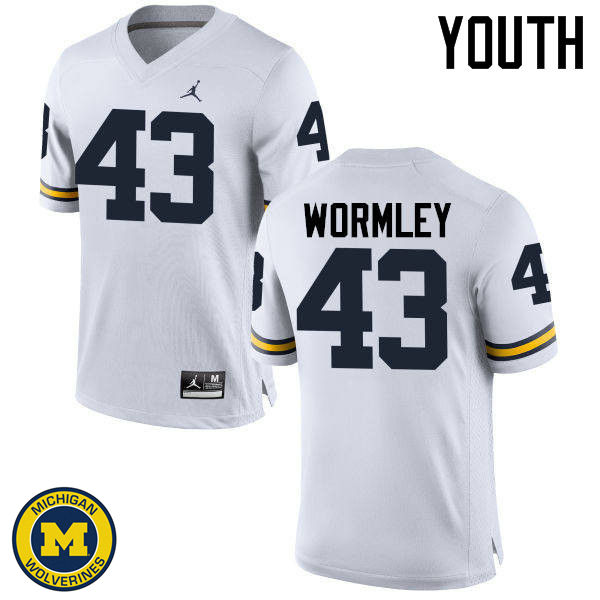 Youth Michigan Wolverines #43 Chris Wormley College Football Jerseys Sale-White