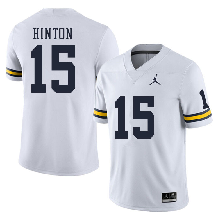 Men #15 Christopher Hinton Michigan Wolverines College Football Jerseys Sale-White