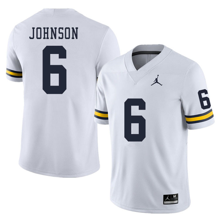 Men #6 Cornelius Johnson Michigan Wolverines College Football Jerseys Sale-White