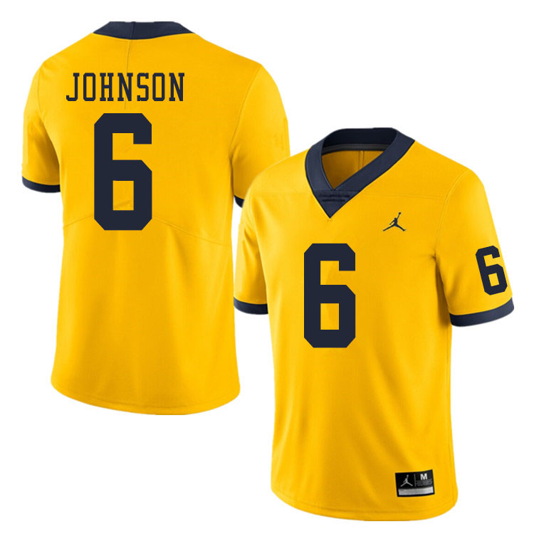 Men #6 Cornelius Johnson Michigan Wolverines College Football Jerseys Sale-Yellow