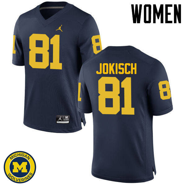Women Michigan Wolverines #81 Dan Jokisch College Football Jerseys Sale-Navy