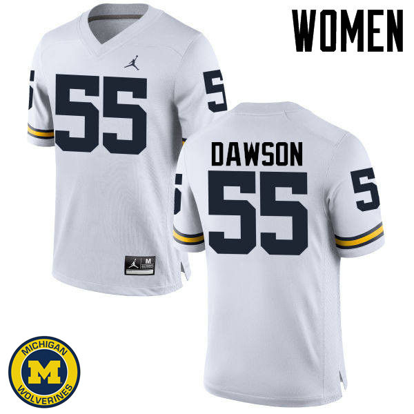Women Michigan Wolverines #55 David Dawson College Football Jerseys Sale-White