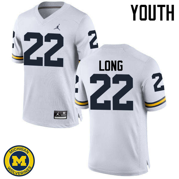 Youth Michigan Wolverines #22 David Long College Football Jerseys Sale-White