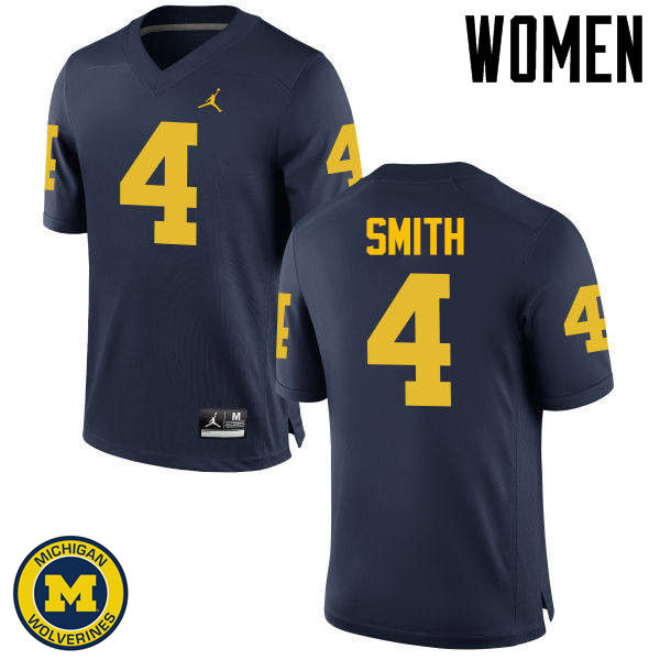 Women Michigan Wolverines #4 De'Veon Smith College Football Jerseys Sale-Navy
