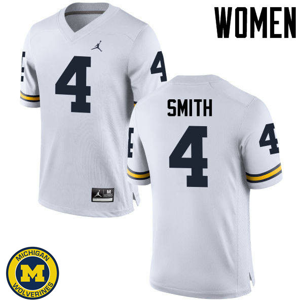 Women Michigan Wolverines #4 De'Veon Smith College Football Jerseys Sale-White