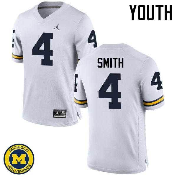 Youth Michigan Wolverines #4 De'Veon Smith College Football Jerseys Sale-White