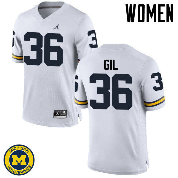 Women Michigan Wolverines #36 Devin Gil College Football Jerseys Sale-White