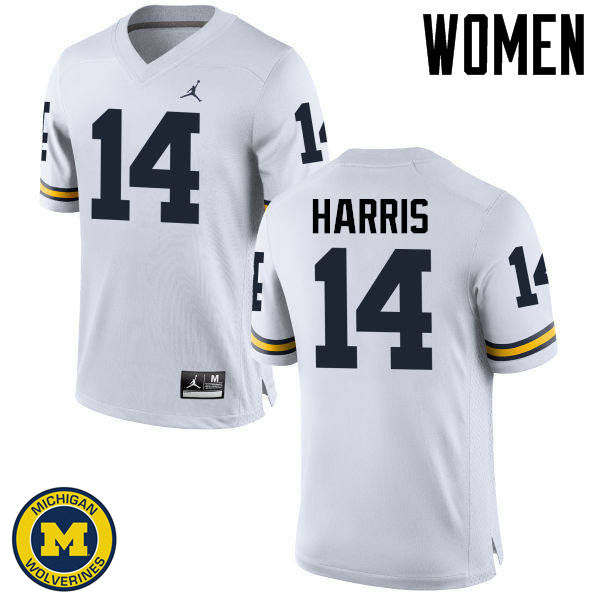 Women Michigan Wolverines #14 Drake Harris College Football Jerseys Sale-White