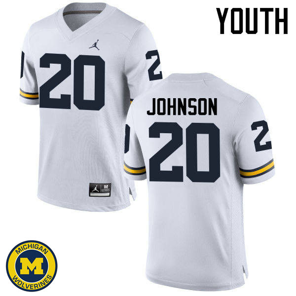 Youth Michigan Wolverines #20 Drake Johnson College Football Jerseys Sale-White