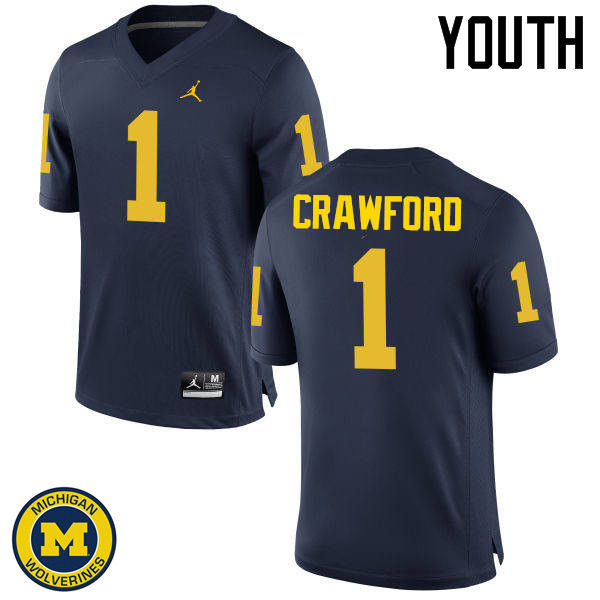 Youth Michigan Wolverines #1 Dylan Crawford College Football Jerseys Sale-Navy
